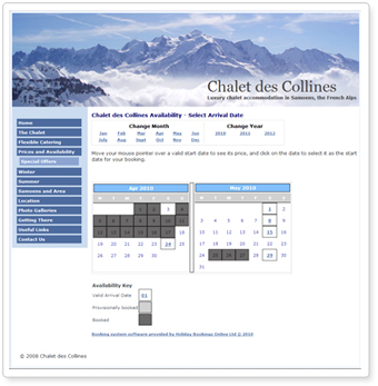 Customised booking system calendar page